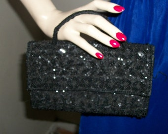 Vintage 1930s Minaudiere Wristlet Goth Black Jet Beaded Small Evening Bag Exec Cond One Size Fits Most