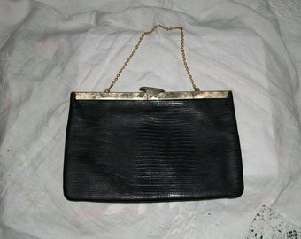 Vintage 1940s Goth Exotic Leather Evening Bag with Gold Chain Handle Very Unique Opening Exec Cond One Size Fits All