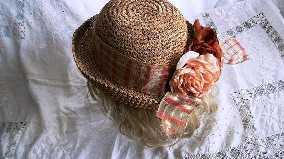 ON SALE TREASURY Sweet and Sassy Straw Hat with Silk Roses and Shimmery Ribbon Trim  Exec Cond One Size Fits Most
