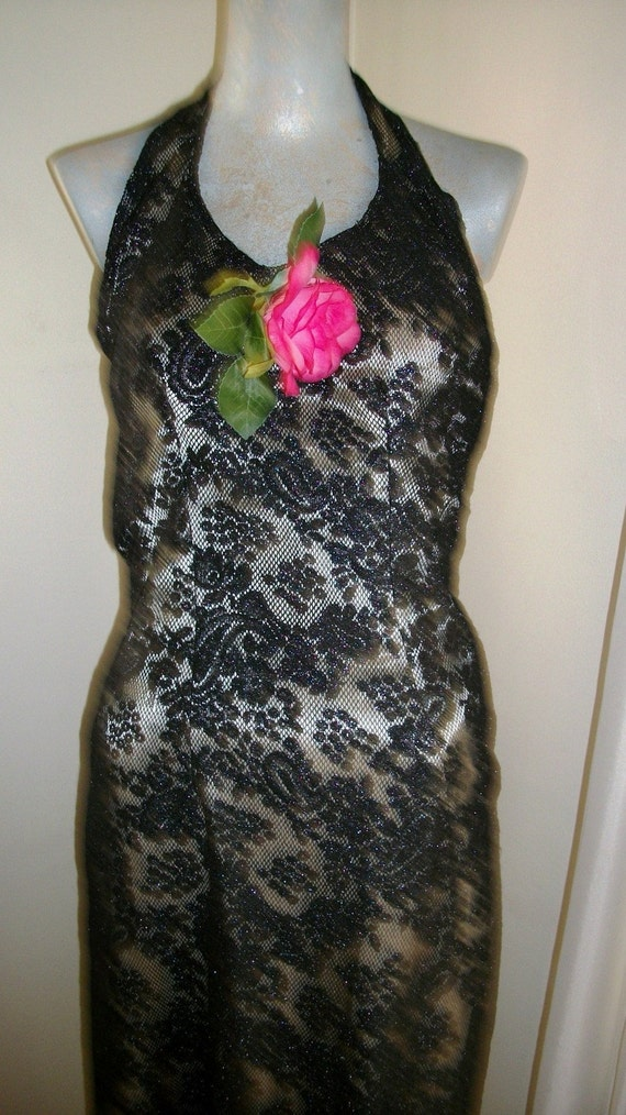 RESERVED 1920s 1930s Style Slinky Black Lace Long Halter Dress Size Small - Medium 6-8 Exec Cond