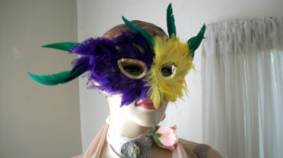 ON SALE Awesome Handmade Mardi Gras Purple and Yellow Feather Mask
