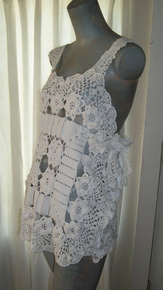 Handmade 100% Cotton Crochet White Bathing Suit Cover Size Medium Original Design