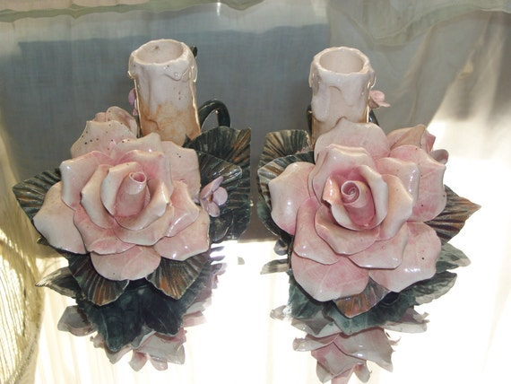 ON SALE Pair of Vintage Beautiful Pale Pink Rose Ceramic Candle Holders Excellent Condition