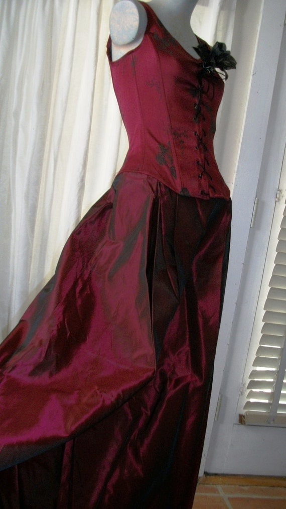 RESERVED Fabulous Victorian or Edwardian Ruby Red  Gothic Gown with Corset Bodice and Full Taffeta Like Long Skirt with Tulle Lining