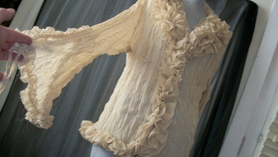 Sheer Pale Beige Ruffle Blouse Lace Ties at Bell Sleeves Very 1970s Stevie Nicks Style One Size Fits Most
