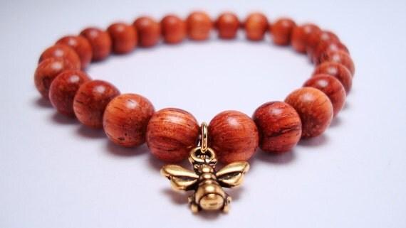 Bayong Wood Beaded Bracelet with Honeybee Charm