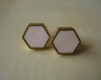 peony mini brass hexagon stud earrings
