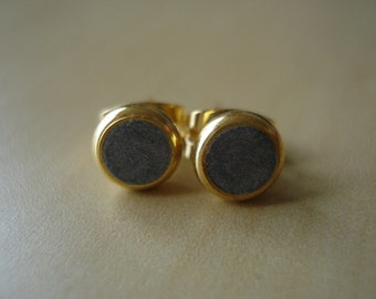 silver shimmer small brass circle stud earrings