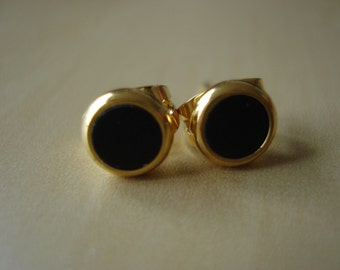 charcoal black small brass circle stud earrings