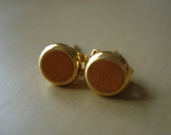 gold shimmer small brass circle stud earrings