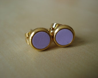 mauve small brass circle stud earrings