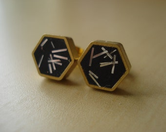 black with silver glitter sprinkles - mini brass hexagon stud earrings