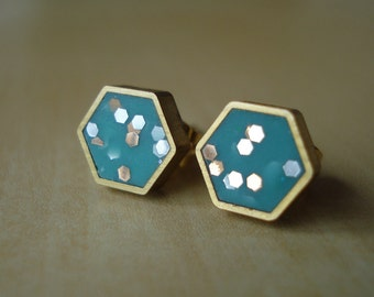 turquoise confetti glitter mini brass hexagon stud earrings