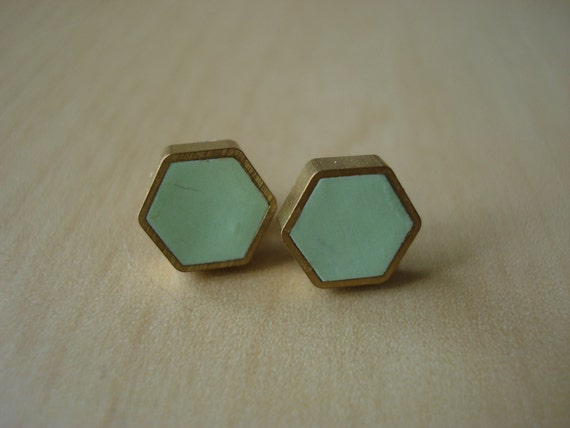 cool mint mini brass hexagon stud earrings