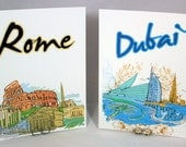 Wedding Table Numbers - Cities of the World Travel Themed Cards