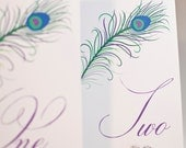 Peacock Feather Wedding Table Numbers  - Table Cards