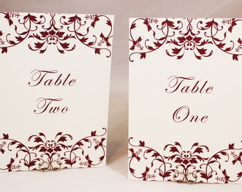 Burgundy Red Wedding Table Numbers - Floral Elegance -  Printed Cards