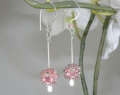 Pink Cotton Candy Dangle Earrings - Pink Handcrafted Beaded Bead