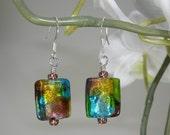 Aurora - Teal Lime Gold Amethyst Glass Foil Dangle Earrings