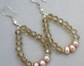 Peach Freshwater Pearl and Crystal Drop Earrings Bridal Earring Party Earrings Prom Earrings