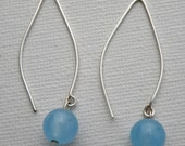 Blue Chalcedony Gemstone Long Dangle Earrings