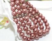 Brown Glass Pearl and Copper Triple Layer Stretch Cuff Bracelet