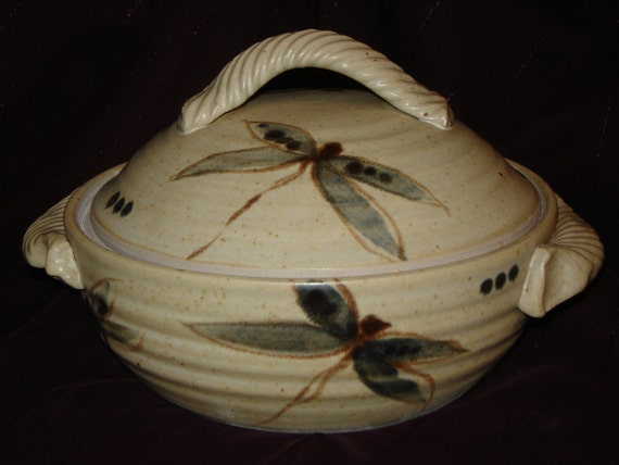 Lidded Stoneware Casserole with Dragon Flies