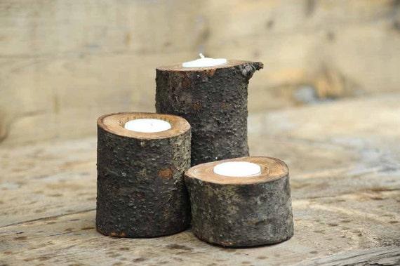 Trio of Oak Log Tea Light Holders Rustic Decor