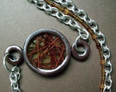 Asymmetrical Necklace with Polymer Clay Pendant on Bead & Metal Chain
