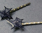 Spider Web Halloween Bobby Pin Pair Black Clear Shrink Plastic