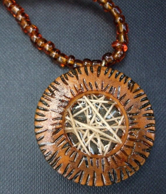 Beaded Necklace with Polymer Clay Pendant - Apricot Rum Punch