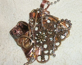 Remnants metal, Recycled metal Pendant, copper brass pendant, Steampunk Jewelry