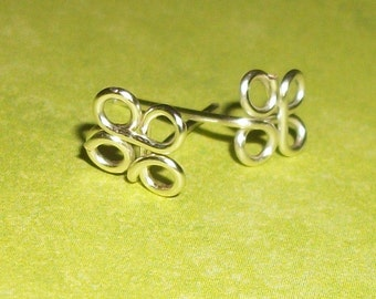 Sterling Silver Clover Butterfly Ear Posts