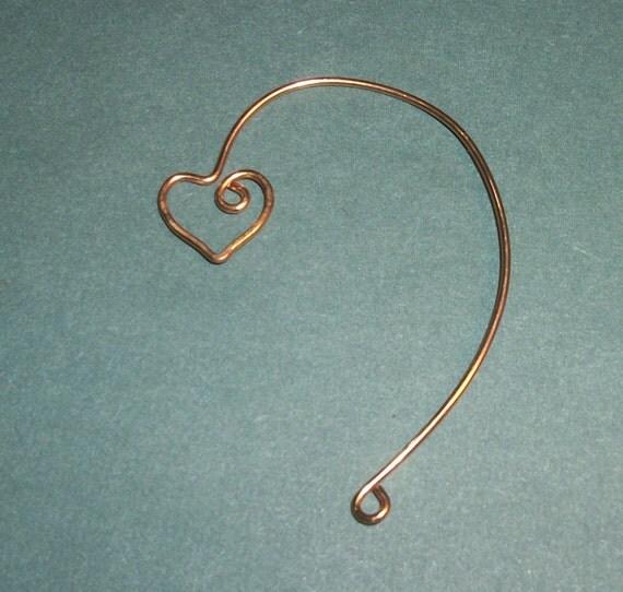 Heart Ear cuff, ear climber, ear jacket,silver plate, gold plate, earring blank, earring findings, beading blank