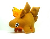 Eco Plush Stegosaurus Dinosaur in Mustard Yellow with Bright Yellow Accents Handmade with Upcycled, Recycled, & Eco Friendly Materials