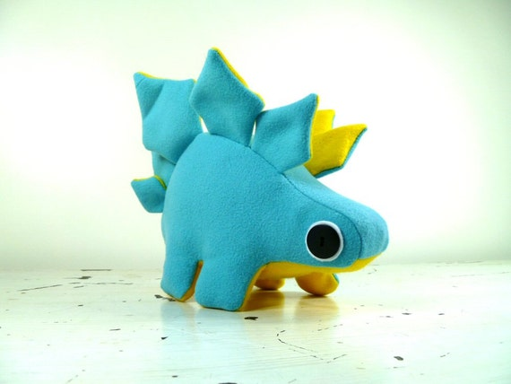 Plush Stegosaurus in Swan Blue with Bright Yellow Accents Handmade with Upcycled, Recycled, & Eco Friendly Materials
