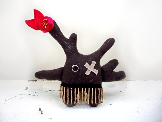 Eco Plush Tribal in Chocolate Brown Handmade with Upcycled, Recycled, and Eco Friendly Materials