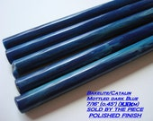 "Bakelite Catalin rods MOTTLED blue 7/16"" diameter highly polished"
