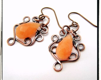 035 Orange Carnelian Gemstone Wire Wrapped Copper Filigree Dangle Hypoallergenic Earrings