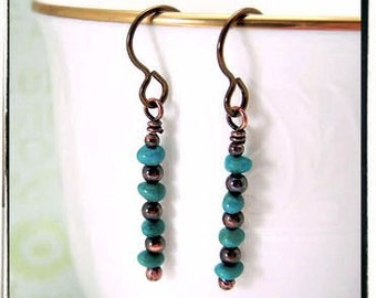 031 Blue Turquoise Gemstone Dangle Wire Wrapped Hypoallergenic Earrings