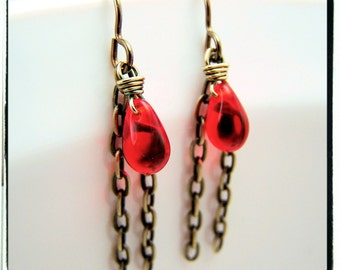 033 Red Czech Glass Teardrop Tassel Wire Wrapped Brass Hypoallergenic Earrings