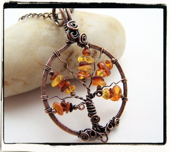 006 Autumn Baltic Amber Tree of Life Pendant with Chain