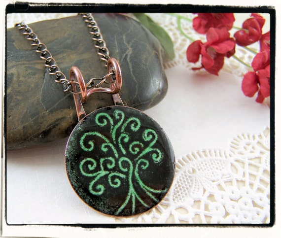 019 Etched Enamel Glass Green and Black Tree of Life Pendant with Copper Bail no Chain