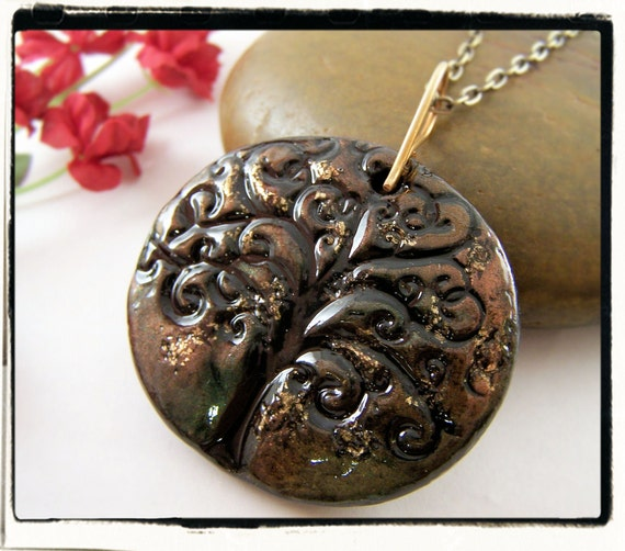 005 Black and Gold Handshaped Clay Tree of Life Pendant no Chain