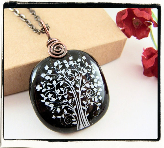 006 Black and White Dichroic Fused Glass Tree of Life Pendant Copper Bail no Chain