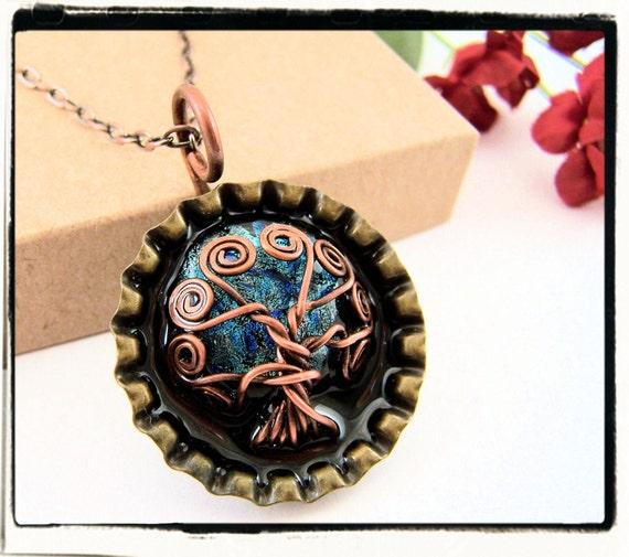 118 Antique Copper Faerie Blue Dichroic Moon Pop Cap Tree of Life Pendant no Chain