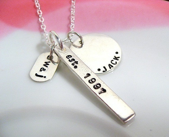 Our Family Story - Names Dates and Initials Stamped Silver Necklace