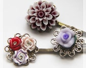 3 Lovely Hair Pins Set  1 - Victorian Floral design with Silver plated Bobby Pin