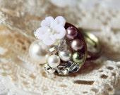 OOAK - Mini Bouquet Ring - Swarovski Element Crystal Pearls, Rhinestone on Antique Brass Adjustable Ring . Finger Corsage . White . Snow