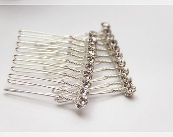 Set of 2 Crystal Rhinestones on Silver Plated Combs (Suitable as wedding hair-piece for bride and bridesmaids)